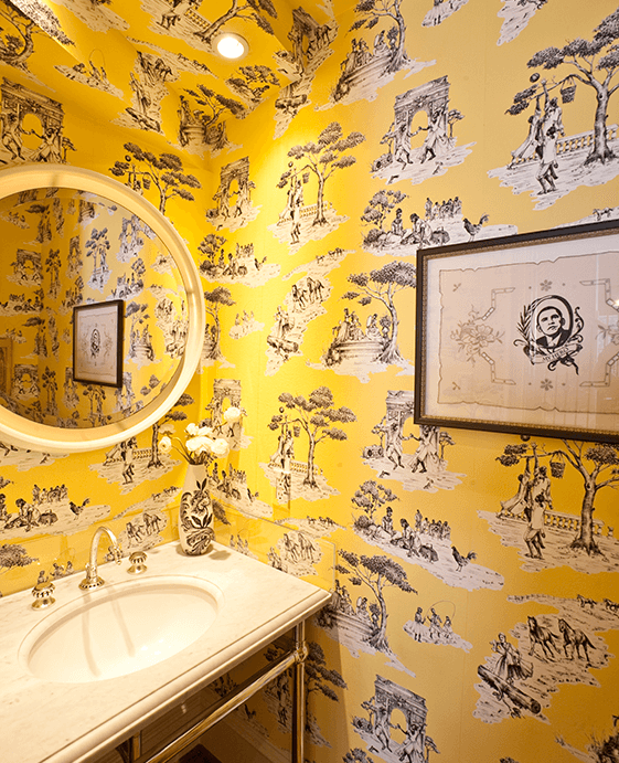 Yellow Wallpaper for Modern Bathroom Inspiration