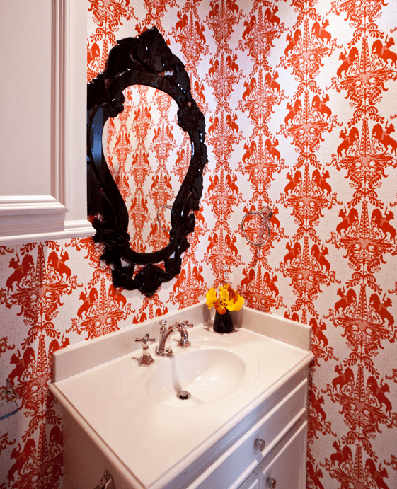Modern Damask Wallpaper with University of Texas Theme