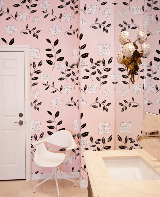 Modern Pink and Black Bathroom with Flower Wallpaper