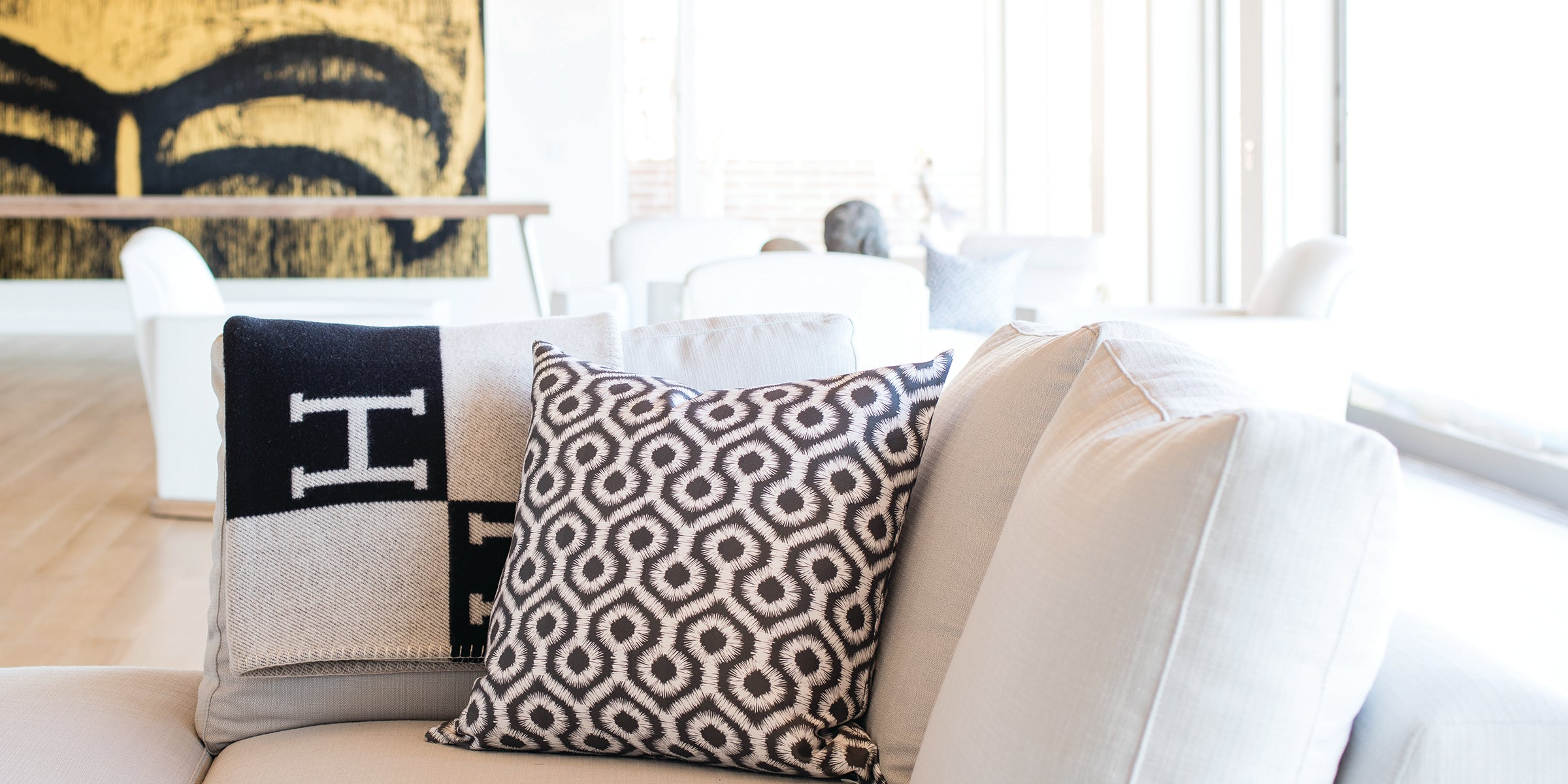 luxury abstract ikat accent pillow