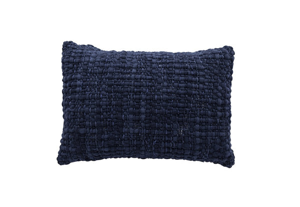 Rectangle Navy Pillow with Silk