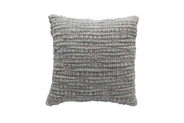 Square Light Grey Pillow with Silk - Tribute Goods