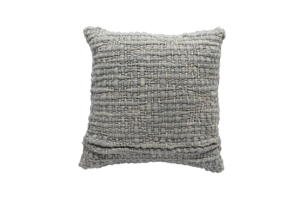 Square Light Grey Pillow with Silk