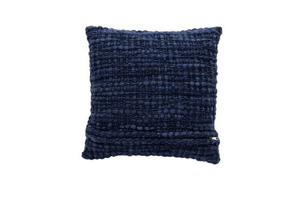 Square Navy Pillow with Silk