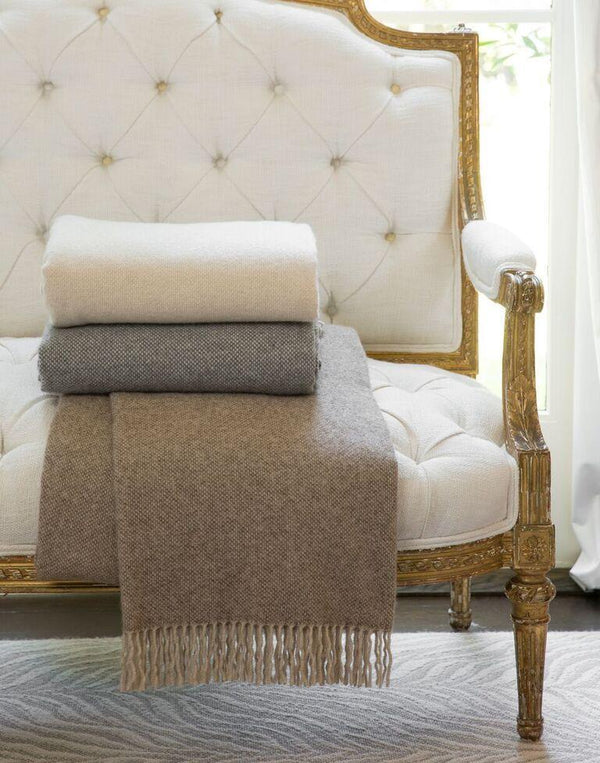 Grey & White Cashmere Throw