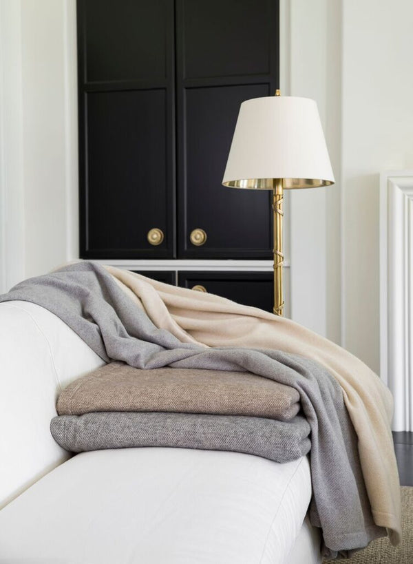 Taupe Wool & Cashmere Blanket - Tribute Goods
