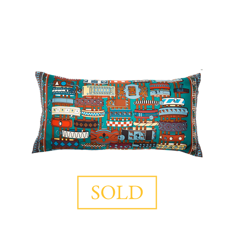 """Colliers De Chiens"" Hermès Silk Scarf Pillow - Tribute Goods"