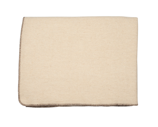 Ivory Wool & Cashmere Stitched Edge Blanket - Tribute Goods