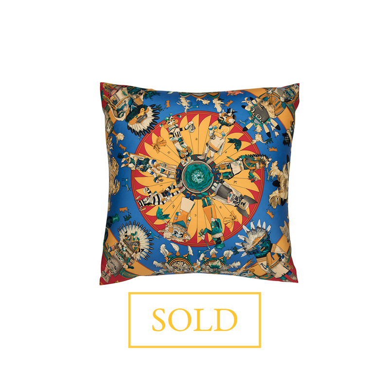 """Kachina"" Hermès Silk Scarf Pillow - Tribute Goods"