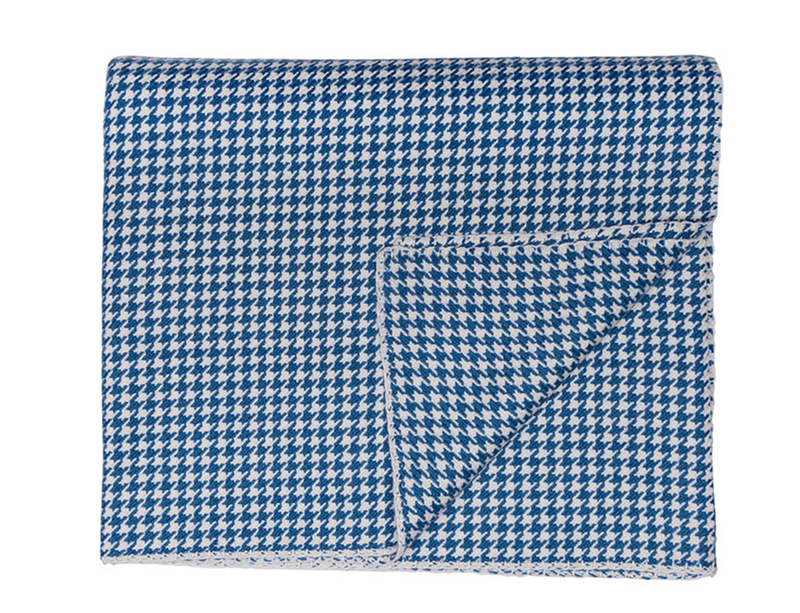 Blue and White Houndstooth Cashmere Blanket - Tribute Goods