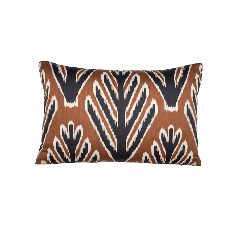 "Brown & Black ""Bodhi Tree"" Lumbar Pillow"