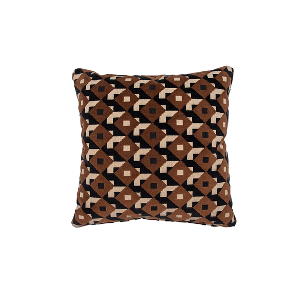 "Brown & Black ""Dazzle Ship"" Velvet Pillow"