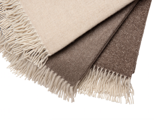Brown & White Cashmere Throw