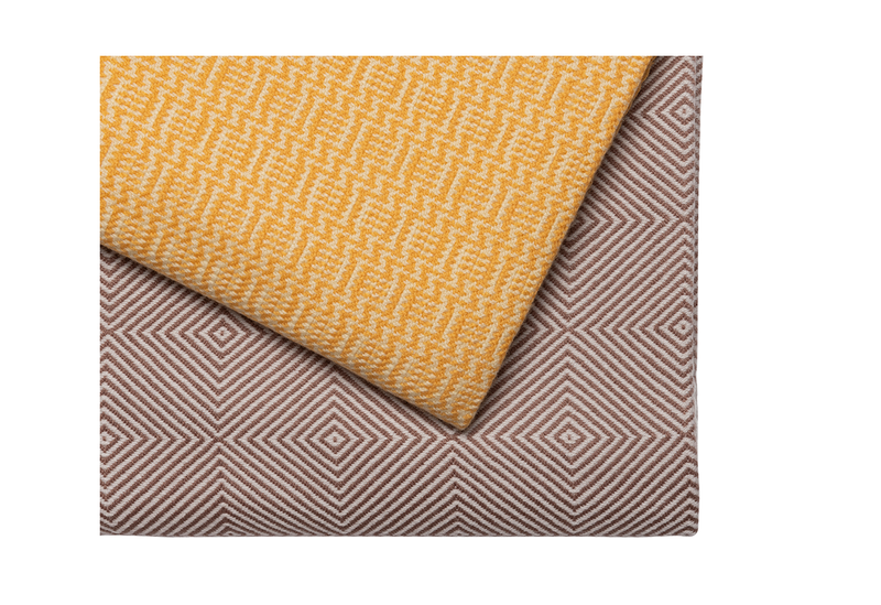 Yellow and White Zig Zag Cashmere Blanket