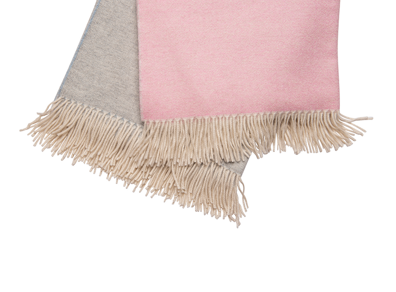 Pale Pink & Cream Cashmere Throw