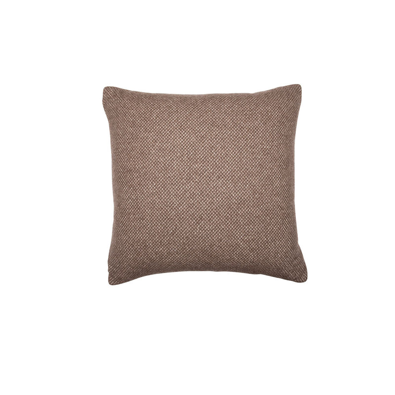 BROWN CHECK CASHMERE PILLOW, SQUARE