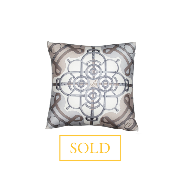 """Eperon d'Or"" Hermès Silk Scarf Pillow - Tribute Goods"