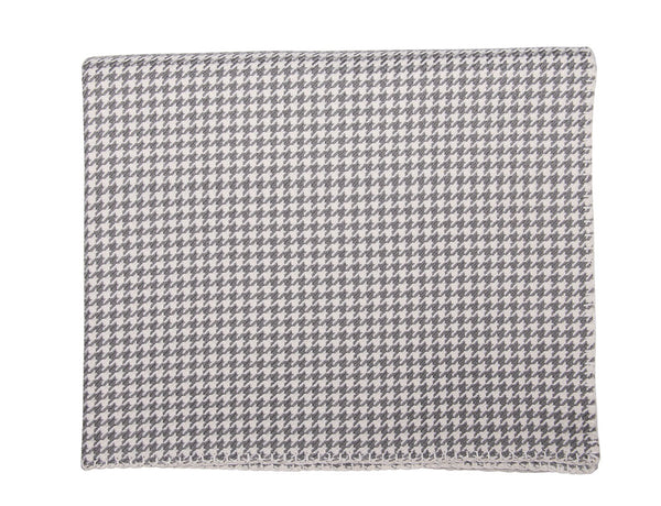 Grey and White Houndstooth Cashmere Blanket - Tribute Goods