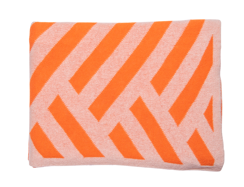 Orange & Ivory Chevron Blanket