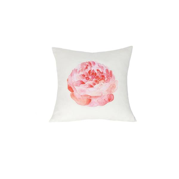 Large Linen Flower Pillow