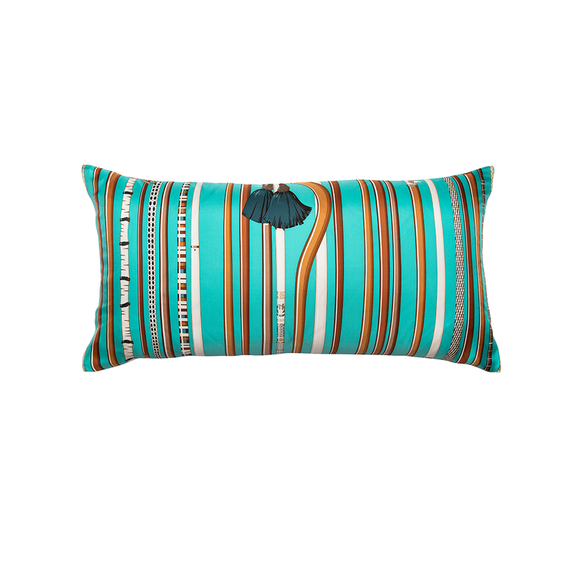 """Les Cannes"" Hermès Silk Scarf Pillow"
