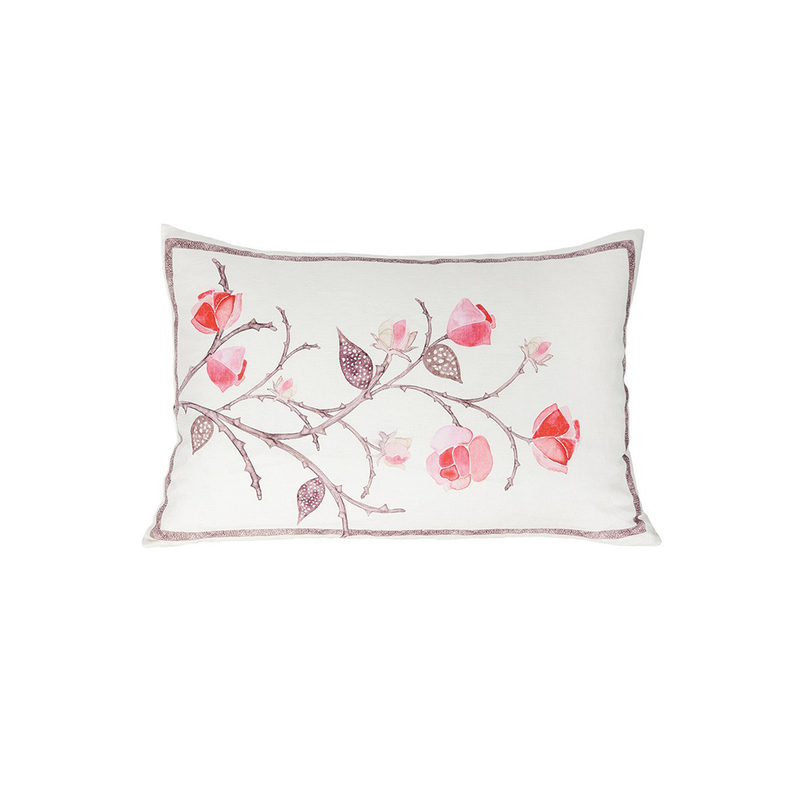 Linen Flower on Vine Pillow