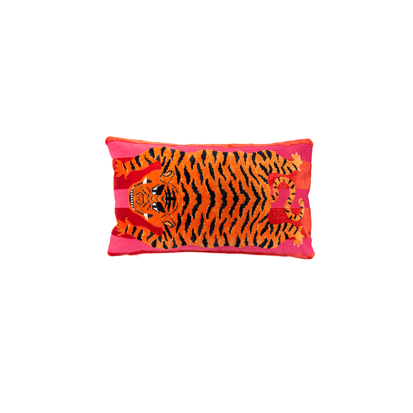"""Jokhang"" Velvet Tiger Pillow"