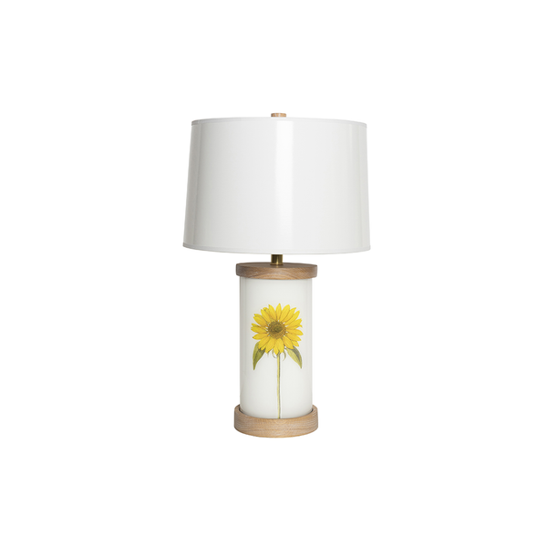 Single Sunflower Églomisé Lamp