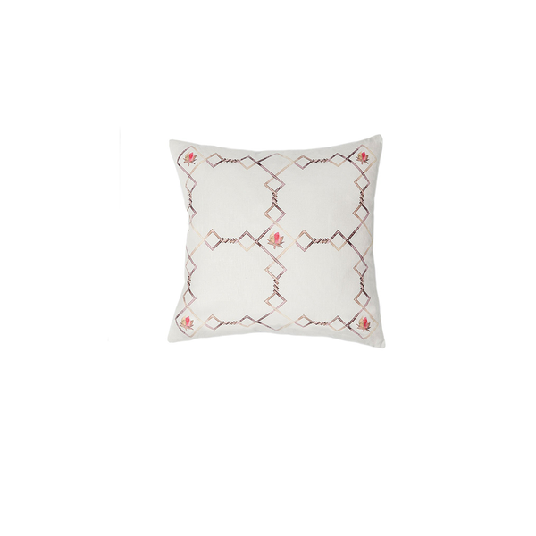 Small Linen Flower Grid Pillow