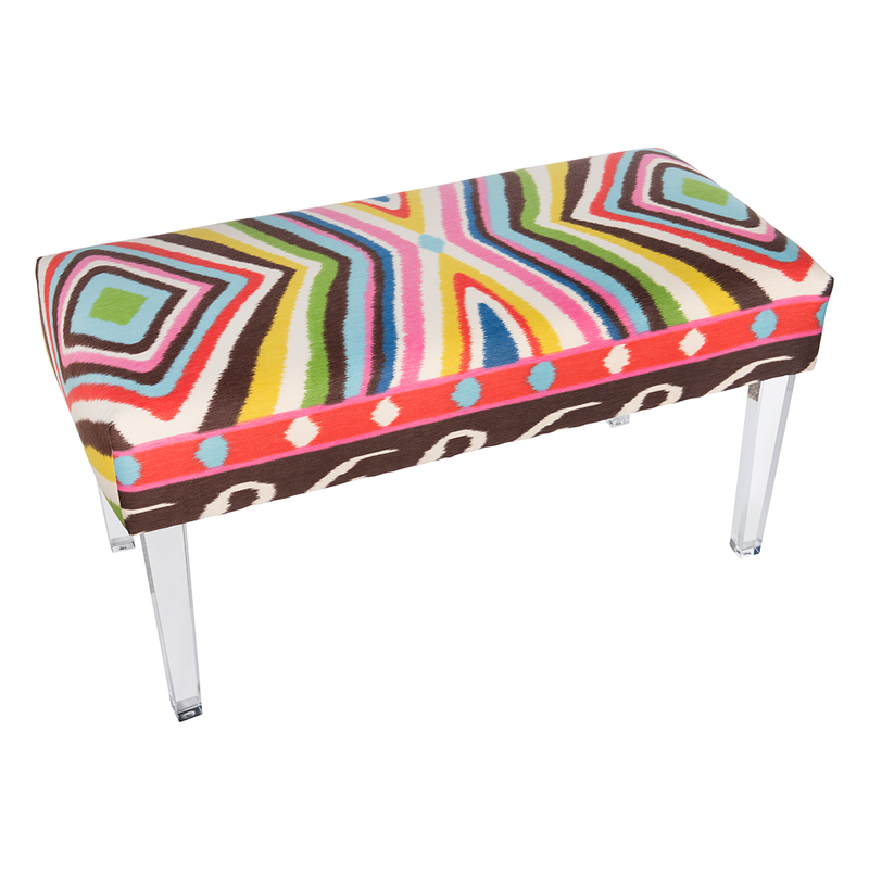 "Multicolor ""Terence Ikat"" Bench"