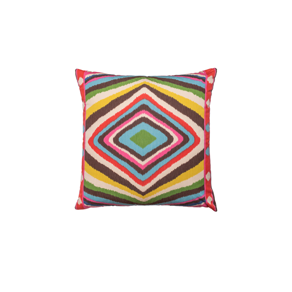 "Multicolor ""Terence Ikat"" Square Pillow"