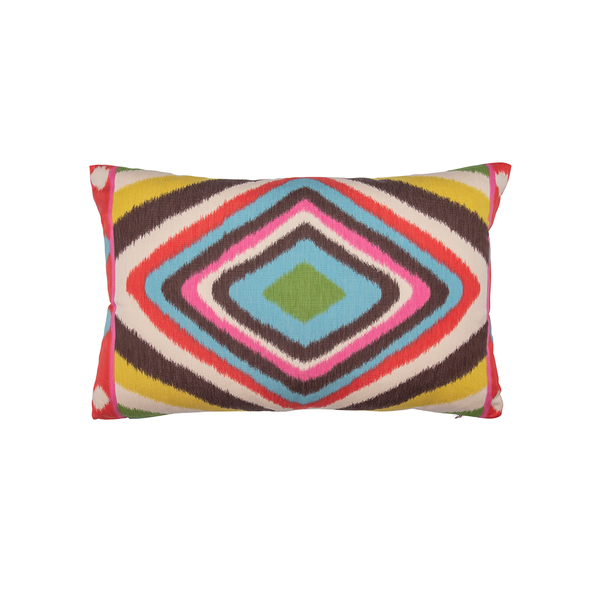 "Multicolor ""Terence Ikat"" Lumbar Pillow"