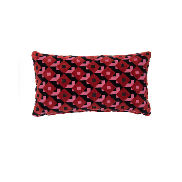 "Pink & Black ""Dazzle Ship"" Velvet Lumbar Pillow"