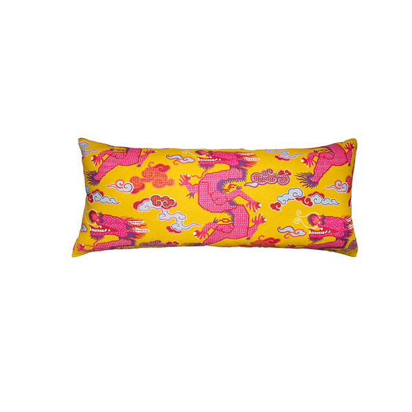 "XL Yellow ""Magical Ming Dragon"" Lumbar Pillow"
