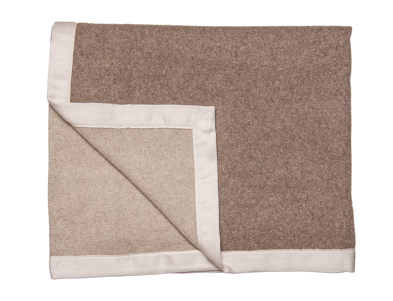 Two-Tone Brown & Oatmeal Cashmere Blanket