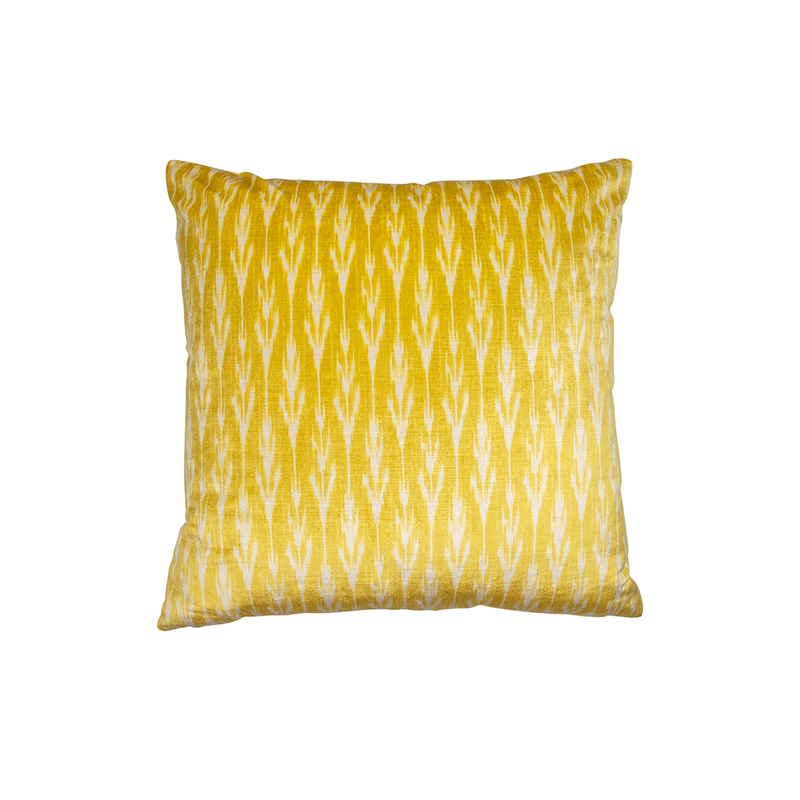 "Yellow ""Helong"" Velvet Decor Pillow"