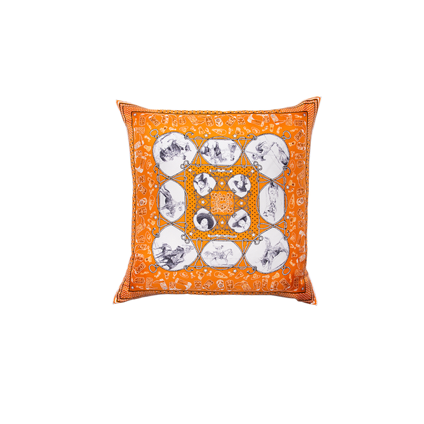 """Rodeo des Cowgirls Bandana"" Hermès Silk Scarf Pillow"