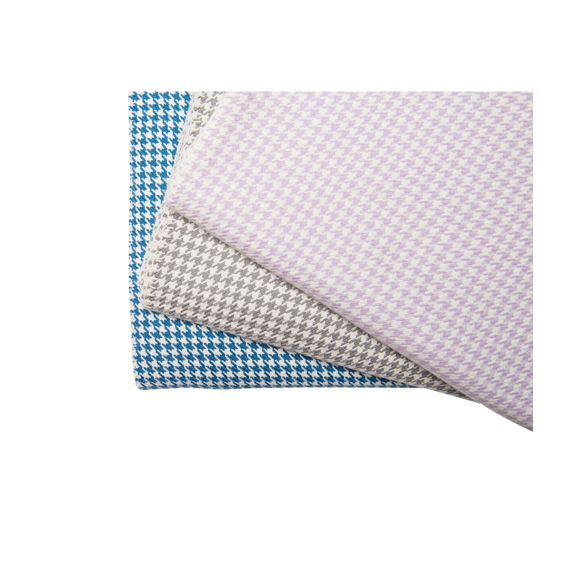 Blue and White Houndstooth Cashmere Blanket