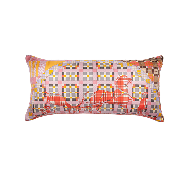 """Ex-Libris a Carreaux"" Hermès Silk Scarf Pillow"