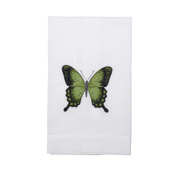 Green Butterfly Linen Hand Towel - Tribute Goods