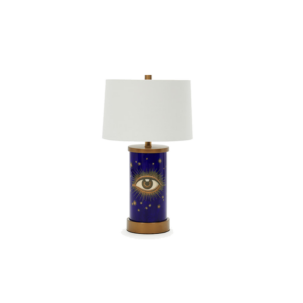 Eye See Navy Églomisé Lamp