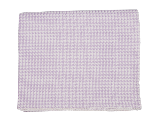 Lilac and White Houndstooth Cashmere Blanket