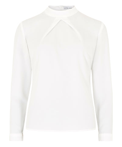 Petite high neck Carter top in ivory Jennifer Anne long sleeves