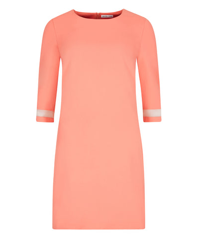 Lined coral shift dress with beautiful sleeves for petite women