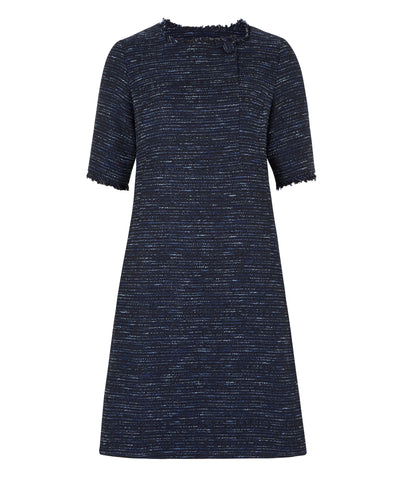 Petite navy button front Italian fabric dress Jennifer Anne