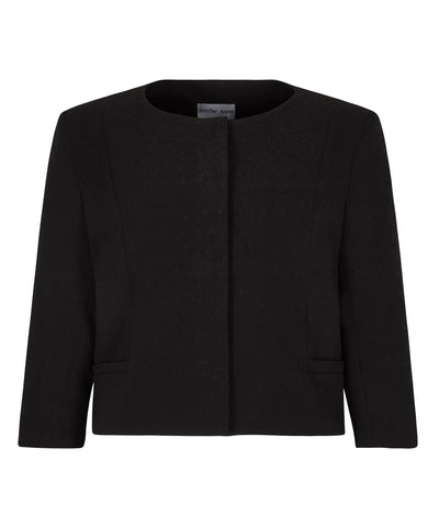 Black cropped jacket lined for petite women