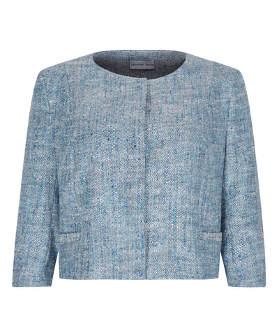 Lined silk linen blend petite cropped jacket with blue pattern