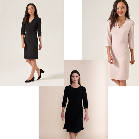 Petite shift dresses black and blush
