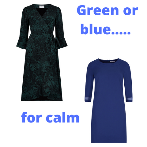 Green silk print petite wrap dress and blue petite shift dress