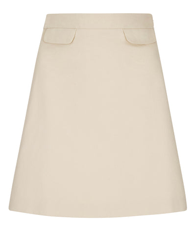 Short A-line petite beige cotton skirt fully lined